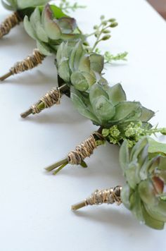 Rustic Boutonniere - Green Succulents