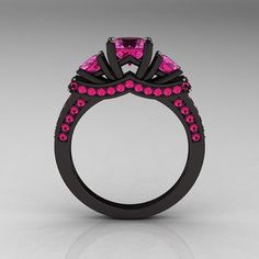 Hot pink and black ring