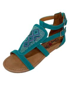 Look what I found on #zulily! Teal Geo-Embellished Sandal #zulilyfinds