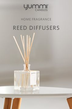 Diffusers, like a bouquet of flowers, disperses a constant scent until the oils run out. They are best for places you want a nice aroma but can't keep an eye on a candle.   Home Fragrance Reed Diffusers by Yummi Candles. Available in 8 detectible scents. Conveniently packaged for gifting. Held in a captivating glass cube bottle. Scented Oil Diffuser, Scented Oils, Yellow Candles, Tea Light Candles, Essential Oils Room Spray, Candle Accessories, Glass Cube, Diffusers, Bouquet