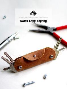 DIY Swiss Army Leather Keyring + free pattern