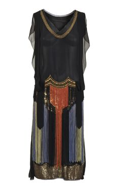 Dress: 1923, European, silk chiffon, tulle, sequins, glass beads.