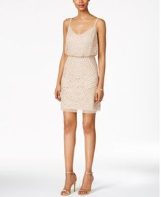 Adrianna Papell Beaded Blouson Dress | macys.com