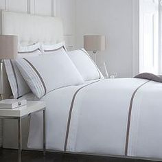 White and taupe 'Babbington' bed linen