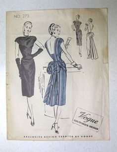 Vogue VCD 273 1Pc Evening Dress 1939 Sz16/34/37 used c/c sld 51+2.85 9bds 2/26/17