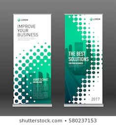 Industrial roll up banner design template. Abstract halftone effect with colored cityscape vector illustration on background. Rollup Design, Rollup Banner Design, Exhibition Banners, Pop Up Banner, Ad Layout, Event Banner, Banner Template, Wall Design, Roller Banners
