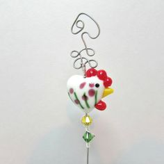 Cake Tester Rooster Chicken White Flowers by BedazzledbyDebi, $12.00