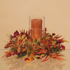 Sweeps Of Color Fall Decor - Berries Leaves Grass Pine Cones Fall Candle Centerpieces, Candle Arrangements, Fall Floral Arrangements, Flower Centerpieces, Candles, Fall Harvest Decorations, Thanksgiving Decorations, Fresco, Hearth And Home