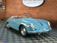 #1961Porsche 356 B RoadsterAETNA BLUE WITH RED INTERIOR AND TAN CANVAS SOFT TOP, NARDI STEERING WHEEL, COMPLETE TOOL KIT, RESTORED IN 2002, 114,500 MILES, CERTIFICATE OF AUTHENTICITY, A FANTASTIC COLOR COMBINATION, SIMPLY GORGEOU#CollectorsCar #VintageAut