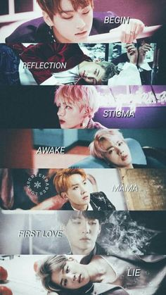 BTS solos Jungkook (Begin) Rap Monster (Reflection) V (Stigma) Jin (Awake) J-hope (Mama) Suga (First love) Jimin (Lie)