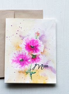 Watercolor Mother's Day card Unique Floral Hand Painted by sanketi