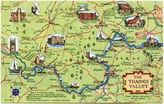 Postcard map of the Thames Valley. Travel Maps, Travel Info, Wales Map, Imaginary Maps, England Countryside, Uk Holidays, River Thames, Vintage Maps, Scotland Travel