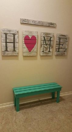Welcome Home pallet sign with sturdy wooden bench. Long Welcome sign Four pallet signs that spell out H.O.M.E. Sturdy bench painted in the same color pallet Everything can be customized (color, size, wood type).
