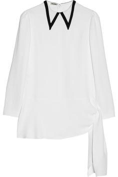 Miu Miu|Asymmetric cady blouse|NET-A-PORTER.COM