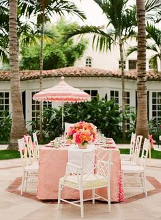 Girly outdoor entertaining—perfect for a spring afternoon! We especially love the dainty umbrella for a bit of shade.