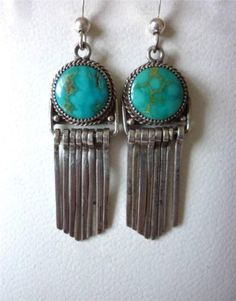 OLD-NAVAJO-Beautiful-TURQUOISE-Sterling-Silver-PIERCED-EARRINGS-w-DANGLES