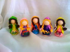 Below are dolls made by participants   for a pegdoll-style swap  hosted in 2014.       Mer-mama & mertots by Margaret Bloom :: we blo...