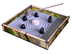 Zen Sand Garden in Brown Glass and Bamboo - BR07