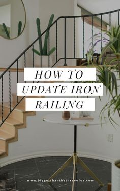 Learn how to modernize your stair handrail with this stair railing idea! Transform your old wrought iron handrails to a cleaner, modern handrail by grinding off the scrolls! Learn how with this interior handrail tutorial!#ironhandrail #handrailidea #staircaseidea #diystairhandrail Wood Railings For Stairs, Steel Stair Railing, Stair Handrail, Handrail Ideas, Iron Handrails, Wrought Iron Stair Railing, Interior Stair Railing, Staircase Remodel, Fireplace Remodel