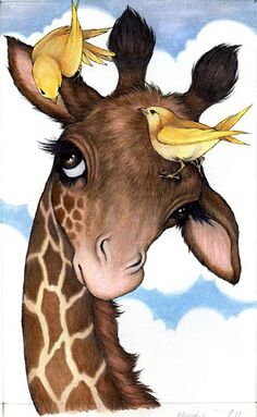 Robin James - Giraffe and birds illustration inspriation Bird Drawings, Animal Drawings, Cute Drawings, Drawing Animals, Horse Drawings, Giraffe Pictures, Cute Pictures, Art Fantaisiste, Art Mignon