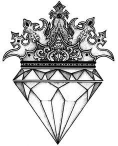 Diamond Tattoo Designs, Crown Tattoo Design, Diamond Tattoos, Diamond Crown Tattoo, King Crown Tattoo, Mini Tattoos, Body Art Tattoos, Sleeve Tattoos, Cool Tattoos