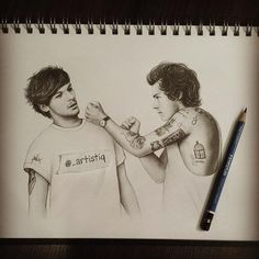 Harry Styles and Louis Tomlinson Harry Styles Dibujo, Harry Styles Drawing, Harry Styles Tattoos, Harry Styles Funny, Harry Styles Baby, Harry Styles Imagines, 1d Imagines, One Direction Fan Art, One Direction Drawings