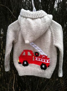 Firetruck hand knit hooded baby sweater by threeknitters on Etsy, $60.00
