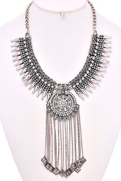 Anja Statement Necklace - Antique Silver