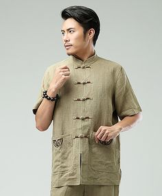 Beige Commoner Chinese Men Casual Han Chinese Shirt via Asia-Sale Best Tai Chi, Kung Fu Clothing