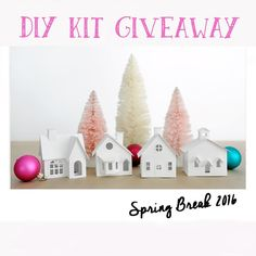 "Spring Break Givewaway Time!Enter to win a DIY Putz Village Kit to make with your kids!  Turn those ""nothing to do"" moments into a fun creative time together!  Kits include 4 pre-cut buildings  glittery bottle brush trees/wreaths silver tinsel & ribbon to decorate your own set of little holiday houses!  Check out the kits at the link in my bio! Complete all 3 steps TO ENTER 1. Like this photo 2. Follow me @holidayspiritsdecor  3. Tag a friend  Giveaway ends 12:00 Noon CT Monday March 21st…"