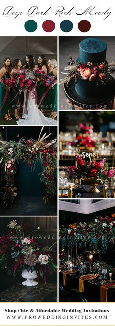 Emerald Wedding Colors, Unique Wedding Colors, Winter Wedding Colors, Unique Wedding Themes, November Wedding Colors, Jewel Tone Wedding, Fall Wedding Decorations, Wedding Ideas, Wedding Color Pallet