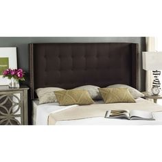 Shop for Safavieh Keegan Chocolate Linen Upholstered Tufted Wingback Headboard (Queen). Get free delivery at Overstock.com - Your Online Furniture Shop! Get 5% in rewards with Club O! - 18575428