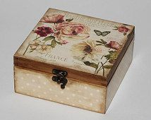 Wooden tea box. Tea storage box. Tea bag box. Tea bag storage. Decoupage.