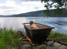 Outdoor Bathtub, Rocket Stoves, Bath Tub, Baths, Fun Stuff, Bathrooms, New Homes, Gardening, Island
