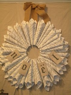 Could also use pages from old cookbooks and tie with seasonal ribbon to hang on the kitchen pantry door.