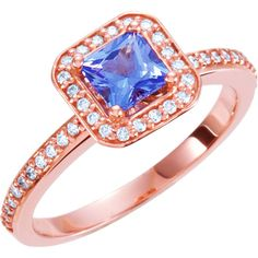 14kt Rose 1/5 CTW Diamond & Tanzanite Halo-Styled Engagement Ring – Sparkle & Jade