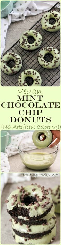 Vegan Mint Chocolate Chip Donuts - No Artificial Coloring!
