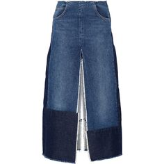 TOME Patchwork distressed denim maxi skirt ($390) ❤ liked on Polyvore featuring skirts, jeans, maxi length skirts, blue maxi skirt, zipper skirt, floor length skirts and tome