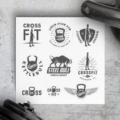 Vintage crossfit gym design elements by 1baranov on Creative Market