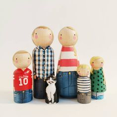 Custom peg family of 6 // personalized peg dolls // modern doll house // custom family portrait // wooden dolls by PegandPlum on Etsy