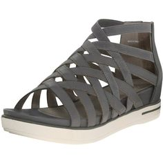 Eileen Fisher Women's Airy GLADIATOR Sandal (910 NOK) ❤ liked on Polyvore featuring shoes, sandals, real leather shoes, greek leather sandals, leather shoes, roman sandals and eileen fisher shoes