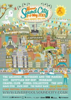 Liverpool Sound City 2013 Poster - the more I look at this poster the more I see - I love the cars and the ghosts!