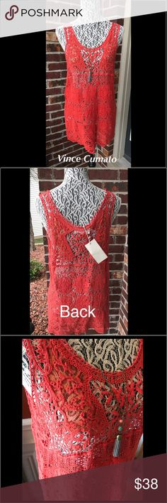 Vince Camuto crochet top Crochet see they top. Nectarine in color. Brand new 100% cotton Two by Vince Camuto Tops Tank Tops
