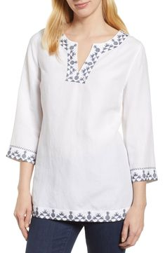 Tommy Bahama Prim Pina Embroidered Tunic | Nordstrom, Free shipping and returns on Tommy Bahama Prim Pina Embroidered Tunic at Nordstrom.com. Cross-stitched pineapples give a playful vibe to a cool popove...,  #Bahama #Embroidered #Nordstrom Short Kurti Designs, Kurta Designs, Tommy Bahama, Sleeves Designs For Dresses, Kurta Neck Design, Tunic Designs, Embroidered Tunic, Embroidery Dress, Street Style Women