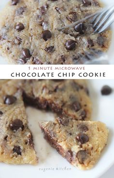 Quick and easy individual chocolate chip cookie is done in 1 minute of cooking in the microwave oven. It's eggless and leavening agent-free. Enjoy.