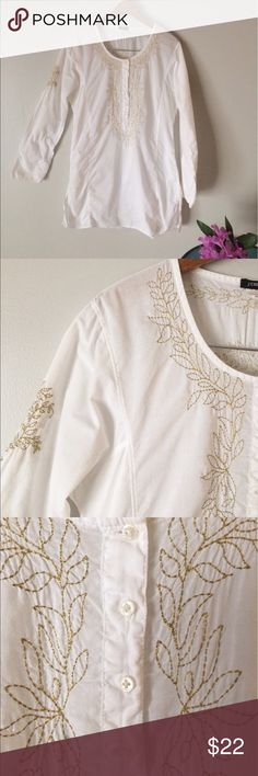 J. Crew tunic white cotton embroidered S J. Crew white cotton breezy tunic loose fit side darts embroidered yoke, back, sleeve. Please note two small spots behind right shoulder. Same rust hold color as embroidery. Lots of fabric to distract the eye. Size S J. Crew Tops Tunics