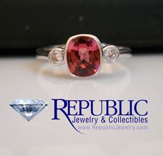 Pink Tourmaline & Diamond ring set into a simple yet elegant 14 karat white gold mounting.  $969   (call us for more info toll free at 1-877-422-7979)