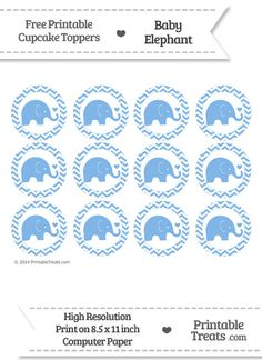 Pastel Blue Baby Elephant Chevron Cupcake Toppers from PrintableTreats.com