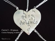 Best Friend Puzzle Necklace, Sterling Silver, Hand Stamped, Personalized, Bridesmaids, Valentine by CopperfoxGemsJewelry on Etsy https://www.etsy.com/listing/169138768/best-friend-puzzle-necklace-sterling