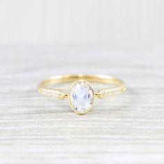 Moonstone and diamond art deco 1920's inspired engraved engagement ring in yellow/rose/white gold or platinum